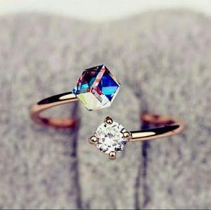 Rose gold, rainbow topaz & CZ adjustable ring